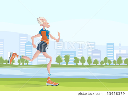 An elderly man practice Jogging outdoors. Active 33458379
