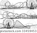 Set of banners of roller-coaster and Ferris Wheel. 33459453