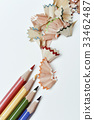 pencil crayons and shavings of different colors 33462487