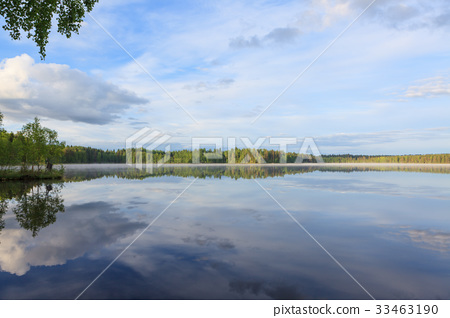 Summer lake scape at morning 33463190