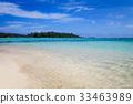 Tropical white sand beach in Moorea Island 33463989