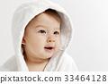 微笑 坐在 嬰兒 33464128