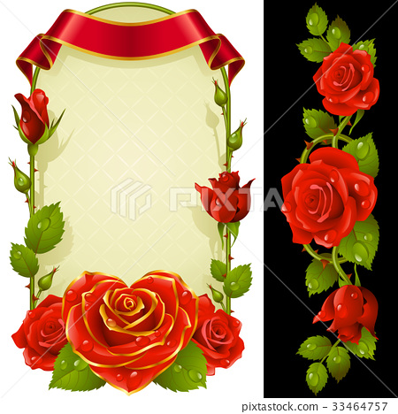 Vector set of Red Roses Decoration 33464757