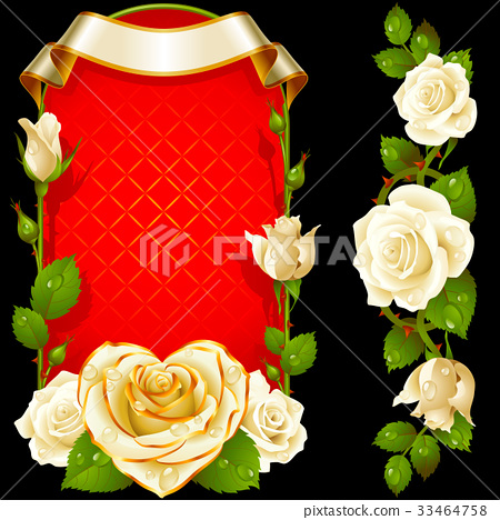 Vector set of White Roses Decoration 33464758
