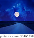 full moon in clouds over asphalt road 33465358