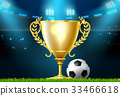 soccer football trophy prize award on stadium 33466618