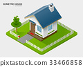 isometric house on ground 33466858