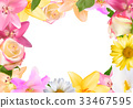 Abstract Frame with Lily, Rose and Other Flowers 33467595