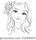 Vector beautiful fashion girl with flower in hair 33469494