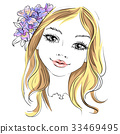 Vector beautiful fashion girl with flower in hair 33469495