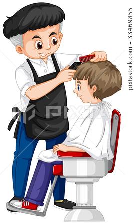 Barber giving boy haircut 33469855