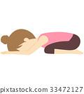 Yoga pose bararasana (child pose) illustration 33472127
