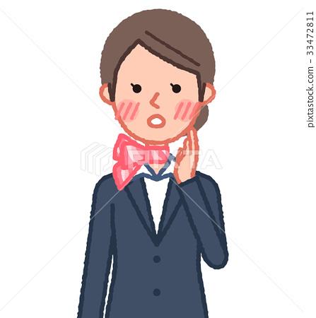 西装和围巾女性前视图脸红 33472811