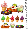 Different types of desserts 33475179