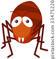 Red ant on white background 33475226