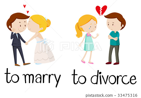 Opposite words for marry and divorce 33475316