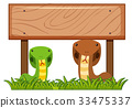 Wooden sign template with two snakes underneath 33475337