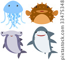 Sea animals on white background 33475348
