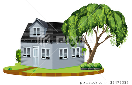 Gray house with big tree in lawn 33475352