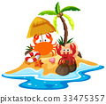 Ocean scene with crabs on the beach 33475357