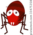 Red ant on white background 33475358