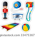 Sticker design with different toys 33475367