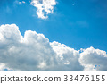 White fluffy clouds in the blue sky 33476155