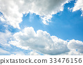 White fluffy clouds in the blue sky 33476156