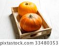 Halloween pumpkins on wooden tray 33480353