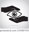 Eye and hand icon, eye care concept 33480740