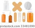 Medical set. Pills bottle, spray, adhesive bandage 33481090