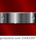 Red metal perforated background with shiny 33481097