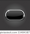 Metal perforated background with black oval glass 33484387