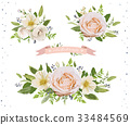 Flower Bouquet vector design element pink rose 33484569