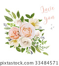 Flower Bouquet vector design pink rose flowers 33484571