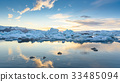 view of icebergs in glacier lagoon, Iceland 33485094