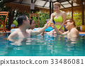 Friends having party  in a swimming pool. 33486081