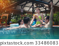 Friends having party  in a swimming pool. 33486083
