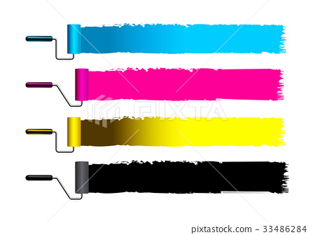 CMYK concept vector illustration with brushes 33486284