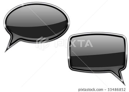 Black speech bubbles. Round and square 3d icons 33486852