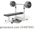 Barbell bench isolated on white. 33487093