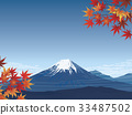 Fuji and autumn leaves 33487502