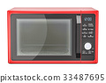 red microwave oven, 3D rendering 33487695