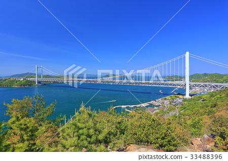 从Washuzan看到的Shimotsui Seto Ohashi桥 33488396