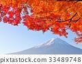 후지산, 가을, 단풍 33489748
