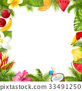 Summer Fruits Poster with Hibiscus, Frangipani 33491250