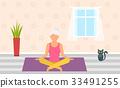Adult Woman Meditating in Pose Lotus, Home 33491255