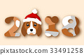 Happy Chinese New Year 2018, Face Dog in Santa Hat 33491258