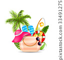 Female Bag with Beach Accessories. Set of Travel 33491275