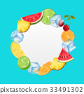 Round Fruit Frame with Ice Cubes, Pineapple 33491302